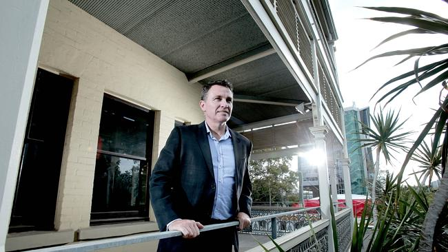 Shane Bulloch CEO Anthony John Group stands in front of historic house Collins Place, part of the Southpoint development. Picture Mark Cranitch. Source: News Corp Australia