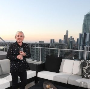 Christine Champion in enjoying skyhigh living in her luxury apartment