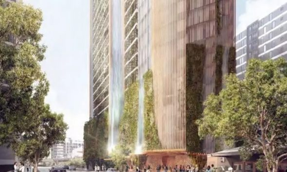 South Brisbane tower with 120m waterfall approved