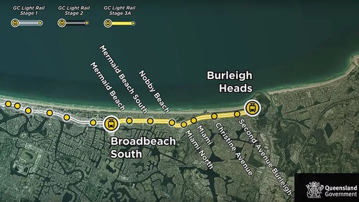 The Queensland state government has announced a $351 million commitment towards the next stage of the Gold Coast Light Rail that would connect the southern Gold Coast to the remainder of the line. Stage 3A will extend the existing route by seven kilometres from Broadbeach South to Burleigh Heads and includes eight new train stations. Premier Annastacia Palaszczuk expects it would take around three years to build Stage 3A, with the possibility of trams operating to Burleigh Heads by 2023.